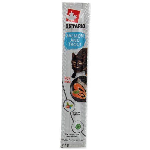 ONTARIO Cat Stick Salmon & Trout 5gr  (lazac és pisztrángos pálcika jutalomfalatok macskáknak)