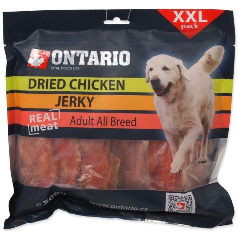 ONTARIO Dog Dry Chicken Jerky Snack 500gr (szárított csirkehús szeletek, jutalomfalat kutyáknak)